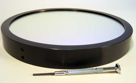 Large narrowband filter in anodized aluminum ring.